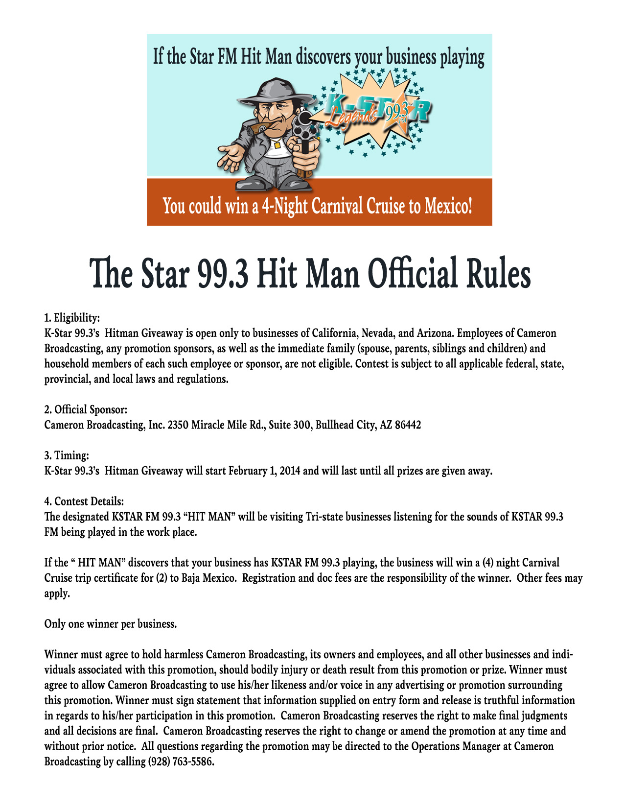 The 99.3 Hit Man Official Rules